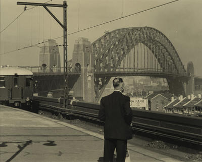 North Sydney Railway Station, Harbour Bridge in the background